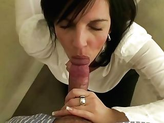 Beautiful Retro Brown-haired Nymph Does Deepthroat Oral Pleasure To Get Facial Cumshot Jizz Flow